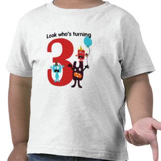 3ro Monstruo lindo de la camiseta del cumpleaños