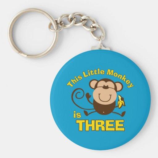 3ro muchacho del cumpleaños del pequeño mono llavero personalizado