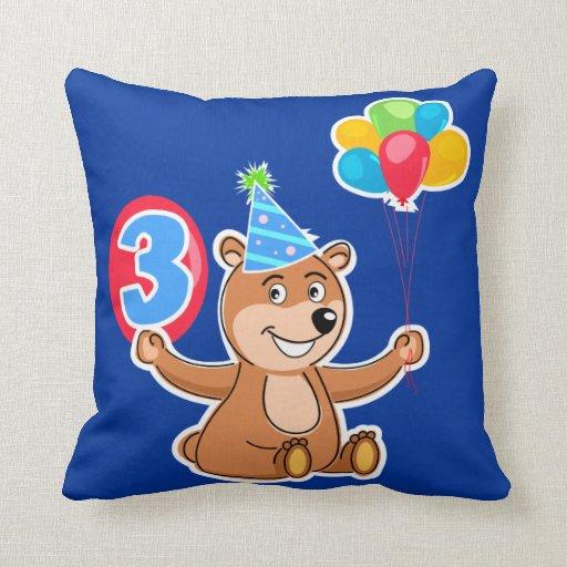 3ro Oso del cumpleaños con los globos Cojines