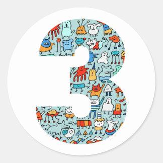 3ro pegatinas del cumpleaños de los pequeños pegatina redonda