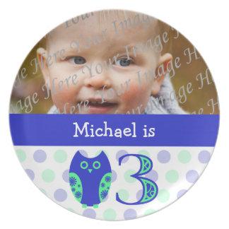 3ro placa de la foto del cumpleaños del búho azul plato para fiesta