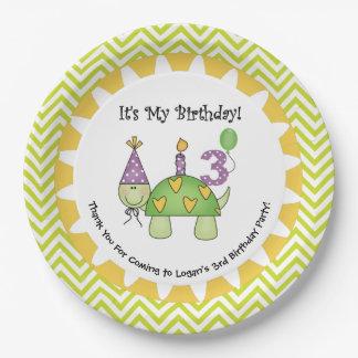 3ro placas de papel del feliz cumpleaños de la plato de papel de 9 pulgadas