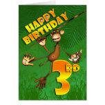 3ro plátano feliz del mono del cumpleaños tarjeton