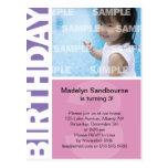 3ro postal del cumpleaños del panel rosado de la l