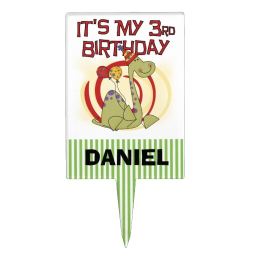 3ro primero de la torta de cumpleaños del dinosaur decoración para tarta