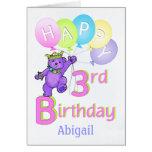 3ro Princesa Bear, nombre de encargo del cumpleaño Felicitación