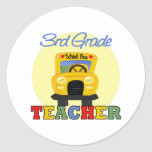 3ro Profesor del grado, autobús Pegatinas Redondas