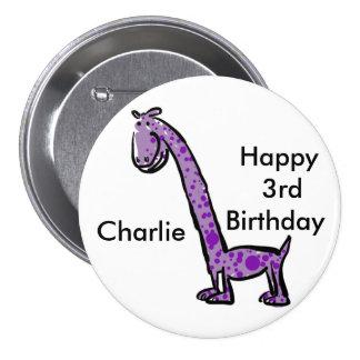 3ro púrpura (conocida) feliz del dinosaurio del chapa redonda 7 cm