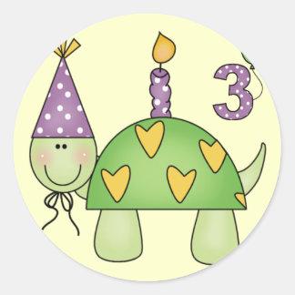 3ro regalos de cumpleaños de la tortuga etiqueta
