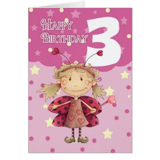 3ro tarjeta de cumpleaños con la hada linda de la