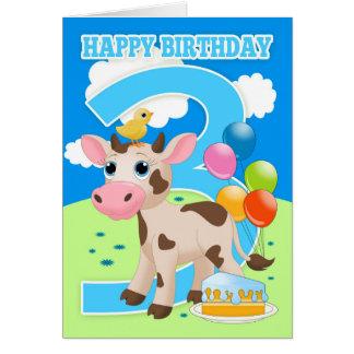 3ro Tarjeta de cumpleaños con la pequeños torta y