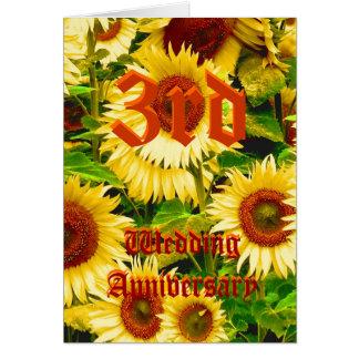 3ro tarjeta del aniversario de boda - girasol