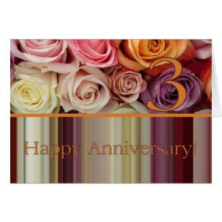 3ro Tarjeta del aniversario de boda - raya en colo