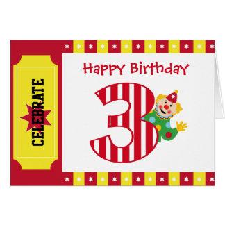 3ro Tarjeta del payaso de circo del cumpleaños que