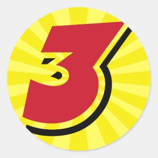 3ro tema y regalos del fiesta del superhéroe del pegatina redonda