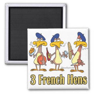 3ro tercer día de tres gallinas francesas de navid imán cuadrado