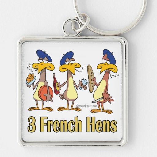 3ro tercer día de tres gallinas francesas de navid llavero