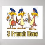 3ro tercer día de tres gallinas francesas de navid poster