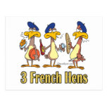 3ro tercer día de tres gallinas francesas de navid tarjeta postal