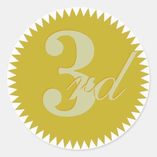 3ro Terceros pegatinas premiados del sello de oro Pegatina Redonda