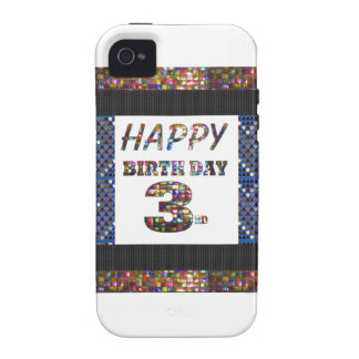 3ro texto del feliz cumpleaños Case-Mate iPhone 4 funda