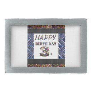 3ro texto del feliz cumpleaños hebilla cinturon rectangular