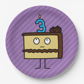 3ro Torta de cumpleaños con las velas Platos De Papel