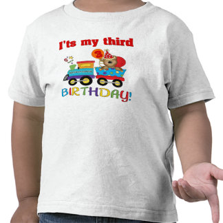 3ro tren del oso del cumpleaños camiseta