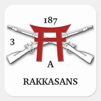 3s/187o pegatinas de la infantería Un RAKKASANS Pegatina Cuadrada