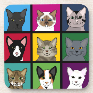 3x3 cats beverage coaster