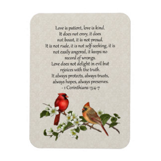 3x4 Cardinals Dogwood Love is Patient Love is Kind Magnet