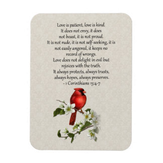 3x4 Red Bird Dogwood Love is Patient Love is Kind Rectangular Photo Magnet