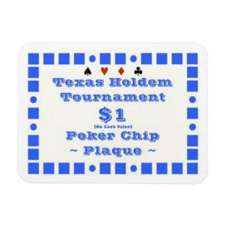3x4 Texas Holdem Poker Chip Plaque $1 Magnet