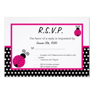 3x5 Black Spring Time Lady Bug RSVP Card