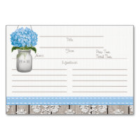 3x5 Blue Hydrangea Mason Jar Recipe Cards