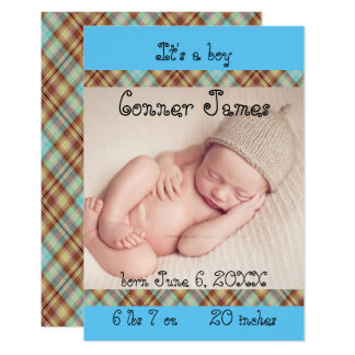3x5 Blue Newborn Baby Boy Plaid Birth Announcement