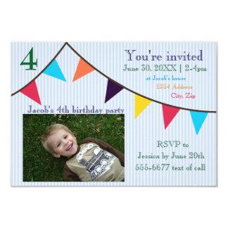 3x5 Boys Birthday Invitation Blue Striped Banner