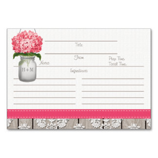 3x5 Bright Pink Hydrangea Mason Jar Recipe Cards Table Cards