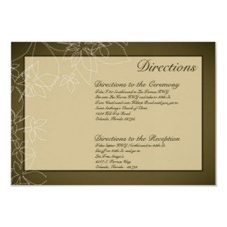 3x5 Directions Card Autumn Floral Fall Leaves Brow
