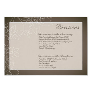 """3x5 Directions Card Autumn Floral Fall Leaves Gray 3.5"""" X 5"""" Invitation Card"""