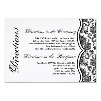 3x5 Directions Card Black White Damask Lace Print