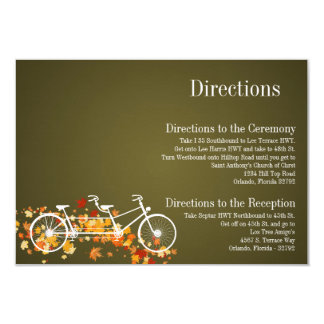 3x5 Directions Card Whimsical Brown Double Bike