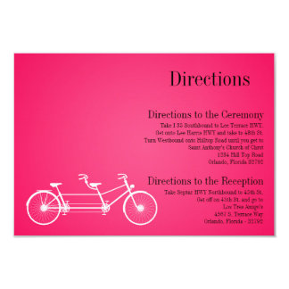 3x5 Directions Card Whimsical Hot Pink Double Bike
