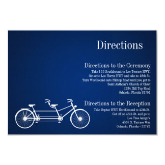 3x5 Directions Card Whimsical Navy Double Bike
