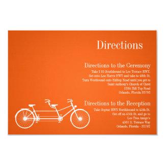3x5 Directions Card Whimsical Orange Double Bike