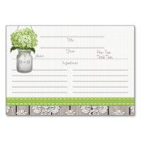 3x5 Green Hydrangea Mason Jar Recipe Cards