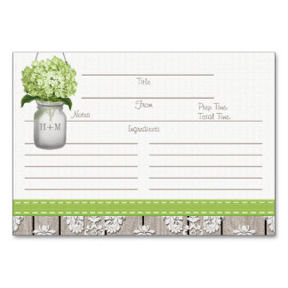 3x5 Green Hydrangea Mason Jar Recipe Cards Table Card