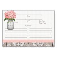 3x5 Pink Hydrangea Mason Jar Recipe Cards