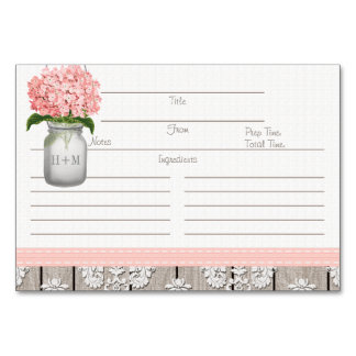 3x5 Pink Hydrangea Mason Jar Recipe Cards