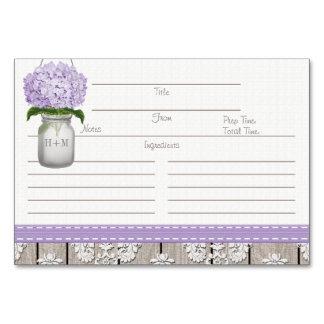 3x5 Purple Hydrangea Mason Jar Recipe Cards